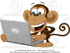 Cartoon Monkey on a Computer Laptop Clipart