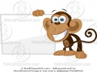 Monkey Standing Next to a Blank Sign Cartoon Picture