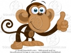 Cartoon Picture of a Thumbs Up Monkey Clip Art