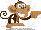 Cartoon Monkey Pointing His Finger