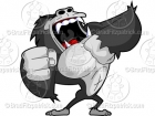 Angry Gorilla Beating Chest Clipart