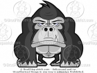 Front View of a Gorilla Standing Clip Art