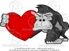Cartoon Picture of a Gorilla Holding a Heart Clip Art