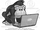 Cartoon Gorilla on a Laptop Computer Clip Art