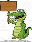 Cartoon Alligator with a Wood Sign