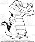 Black & White Alligator Waving Stock Illustration
