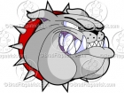 Bulldog Head Growling Cartoon Mascot Logo Clip Art