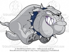Running Bulldog Mascot with a Blue Collar