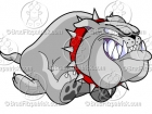 Cartoon Running Bulldog Logo Clipart