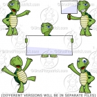 Cute Cartoon Turtle Clip Art Pack