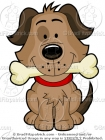Cute Cartoon Dog and Bone Clip Art Picture