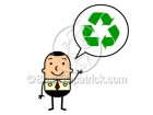 Cartoon Man with Recycle Symbol Clipart Graphics