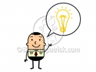 Cartoon Man with an Idea Lightbulb Clipart Graphics