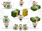 Cartoon Money Man Holding Money Clipart