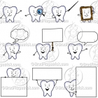 Cartoon Tooth Character Clipart Mascot Graphics