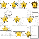 Cartoon Star Character Clipart Mascot Graphics