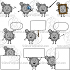 Cartoon Gear Character Clipart Mascot Graphics