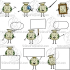 Cartoon Money Bag Character Clipart Mascot Graphics