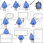 Cartoon Water Character Clipart Mascot Graphics