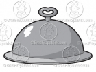 Cartoon Picture of a Covered Silver Platter Clip Art