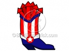 Cartoon Patriotic Cowboy Boot Clipart