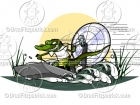 Cartoon Alligator on an Air Boat Clip Art