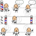 Cartoon Barber Character Clipart Mascot Graphics