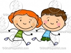 Cartoon Boy & Girl Running Clip Art