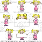 Cute Cartoon Girl in a Dress Clip Art