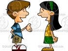 Cartoon Kids Talking Clipart (boy & girl)