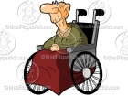 Old Cartoon  Man in a Wheelchair Clipart